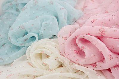 "Lace Chiffon Fabric Pink Green Beige Rose Large Flower Wedding 59""width 1 yard"