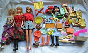 3-Vintage-1966-Barbies-Twist-amp-Turn-Bendable-amp-Accessories-Mini-GroceryBoxes-Etc