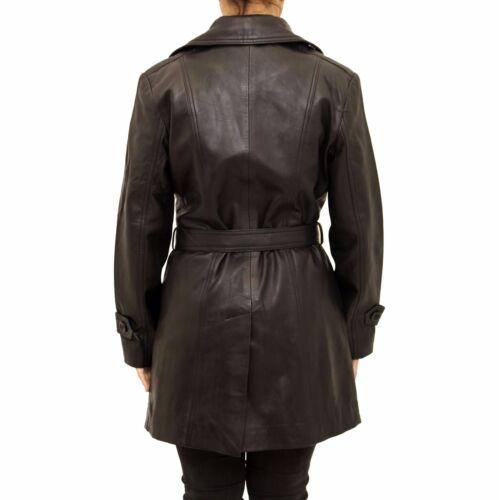 en longueur avec à de femmes fente ceinture pour ajusté Trench 3 cuir coat cravate et noir la 4 HqRC4B