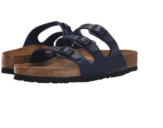 Birkenstock FLORIDA Ladies Womens Buckle Birko Flor Summer Beach Sandals Navy