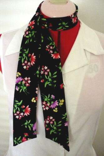 ROCK N ROLL//ROCKABILLY NECK SCARF HAIR TIE HEADBAND BLACK FLORAL COTTON  NEW