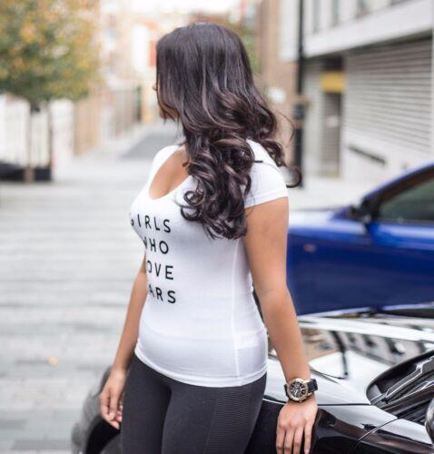 Filles qui aiment les voitures T-shirt femme blanc//rose bébé
