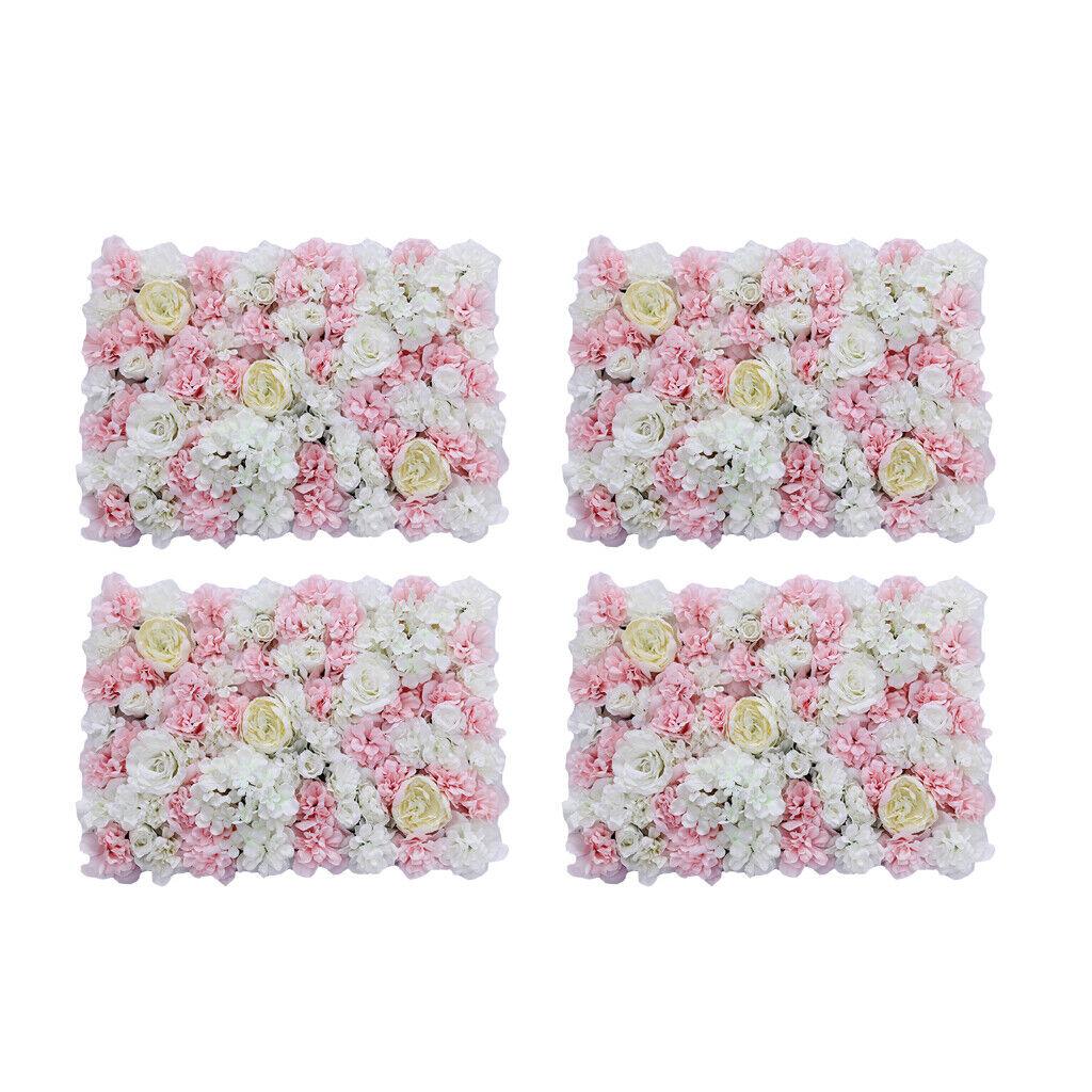 4pcs Upscale Artificielle Fleur Mur Panel Home Mariage Fleurs Décor Rose