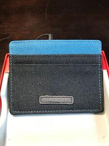 53637d336b3c Details about Perry Ellis Black Teal Portfolio Fabric Card Case Holder Mini  Wallet