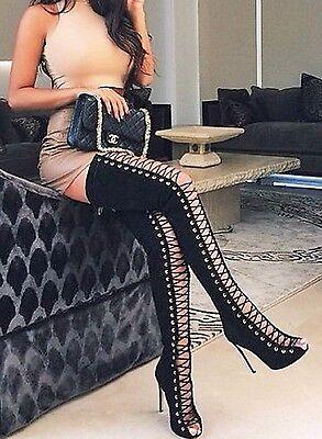 adc8268449f CR Thigh High Open Toe Stiletto Heel Lace Up Full Back Zipper Boots Black  Nubuck