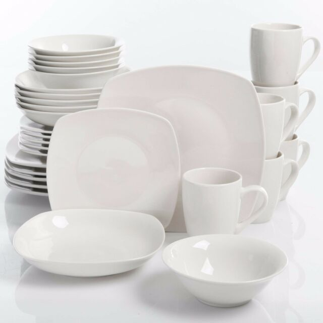 30 Piece Porcelain Dinnerware Set Square Dinner Plates Dish Service For 6 White