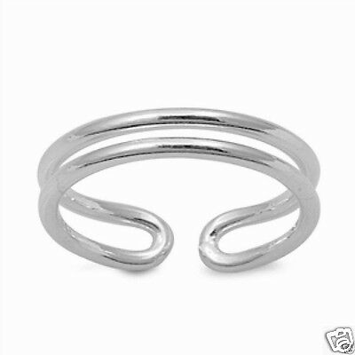 Adjustable Wave Band Toe Ring Sterling Silver 925 Beach Plain Jewelry Gift