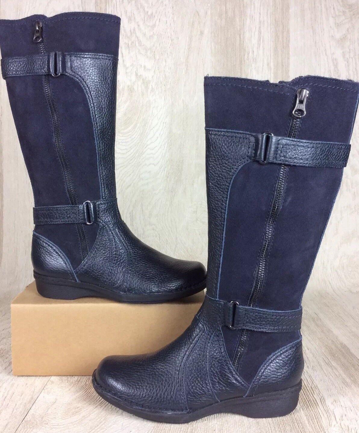 Clarks Leather Medium Calf bottes - Whistle Whey Navy 5.5 Medium NEW