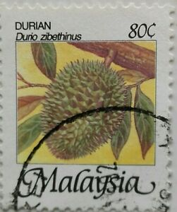 Malaysia Used Stamp - 1986 80 cents Fruits Definitive Stamp - Durian