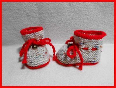 1 Paar Gestrickte Baby-trachten-schuhe,babyschühchen, Rot, Tweed, Fußl. Ca. 9 Cm