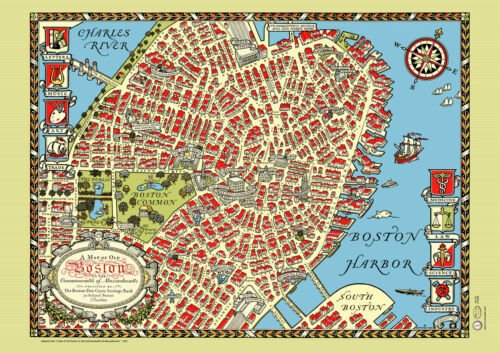 Boston Downtown 1920 Map Poster Vintage Charles River North Church Beacon Hill