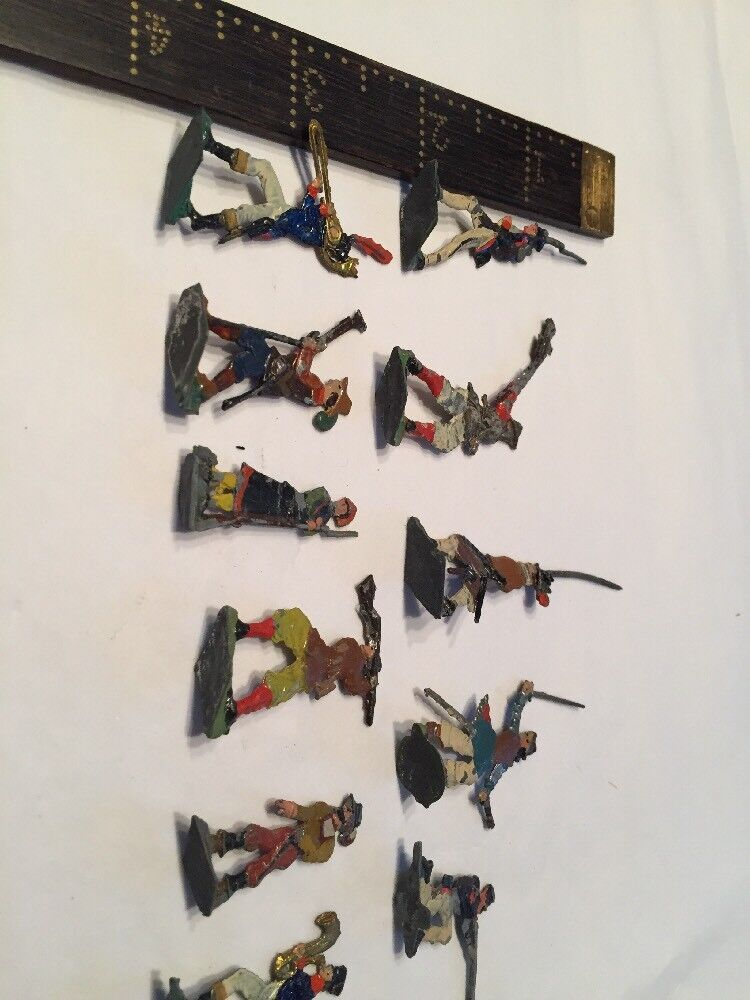 """11 Antique Tin Lead Soliders 1 1 2"""" 2"""" 2"""" Double Sided"""