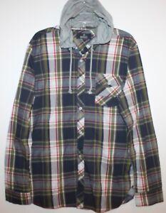 Buffalo-David-Bitton-Mens-Blue-Plaid-Button-Front-Shirt-Hoodie-NWT-89-Size-S