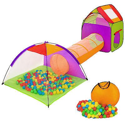 Kinderzelt mit Tunnel 200 Bälle Spielzelt Bällebad Pop up Zelt Krabbeltunnel