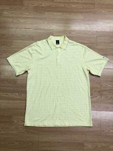 Nike-Golf-Tour-Performance-Men-039-s-XL-Polo-Shirt-Yellow-Blue-Striped-DRI-FIT