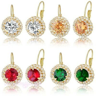 Crystal Leverback Dangles/Drop Earrings 18k Gold GP Women's Gift  E176