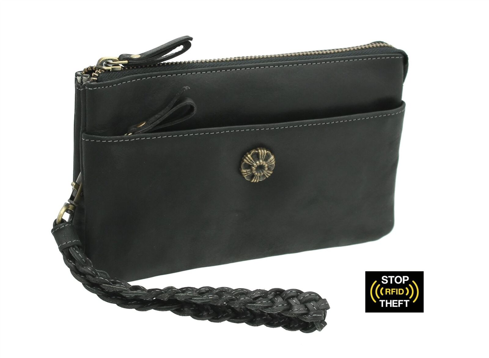 Mala Leather TUDOR Collection Leather Wristlet   Clutch - RFID Protected 7119_88 | Ausgezeichnetes Handwerk