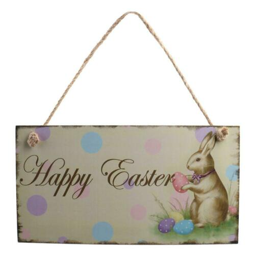 Shabby Chic Wooden Door Wall Hanging Decor Happy Easter Easter Greeting Decor