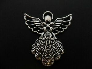 2 x Tibetan Silver Purple Fairy Angel Pendant Charms