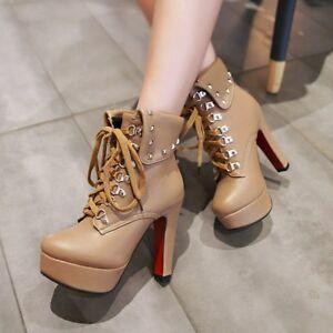 Womens-High-Heel-Lace-up-Platform-Rivets-Ankle-Boots-Shoes-AU-Plus-Size-2-13