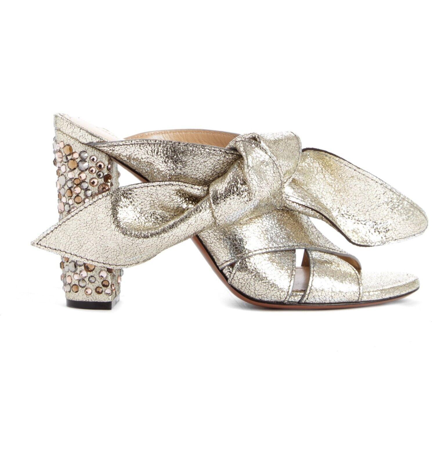 1,160 CHLOE Nellie Crystal Embalised Top Knot Block Sandal grå Glitter 7 -6.5