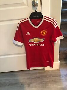 sports shoes a63aa b4f23 Details about Adidas ClimaCool MANCHESTER UNITED Chevrolet Soccer Futbol  Jersey Small