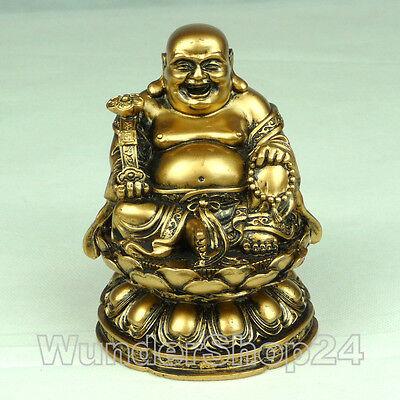 Glücksbuddha Buddha Feng Shui Figur Statue 11,5 cm Gold Farbe Asia China Deko