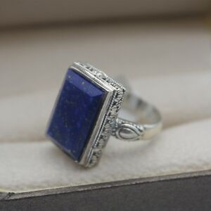 New-925-Sterling-Silver-with-Rectangle-Lapis-Lazuli-Special-Ring-Size-5-9