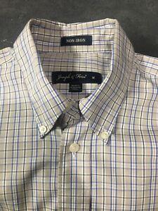 Joseph-amp-Feiss-Non-Iron-Plaid-Check-Button-Down-Long-Sleeve-Shirt-Mens-Medium