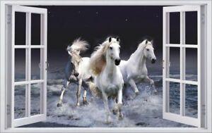 Pferde-Meer-Dunkel-Pferd-Tier-Wandtattoo-Wandsticker-Wandaufkleber-F0478