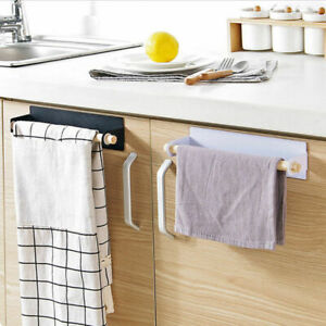 Kitchen Towel Holder Roll Paper Storage Rack Tissue Hanger Under Cabinet Door