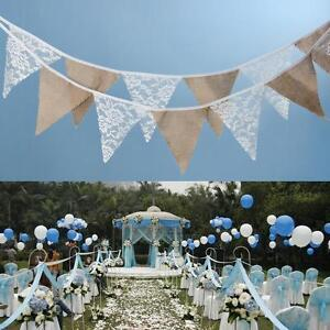 3-2m-12-Flags-Lace-Flax-Vintage-Party-Wedding-Pennant-Bunting-Banner-Decor