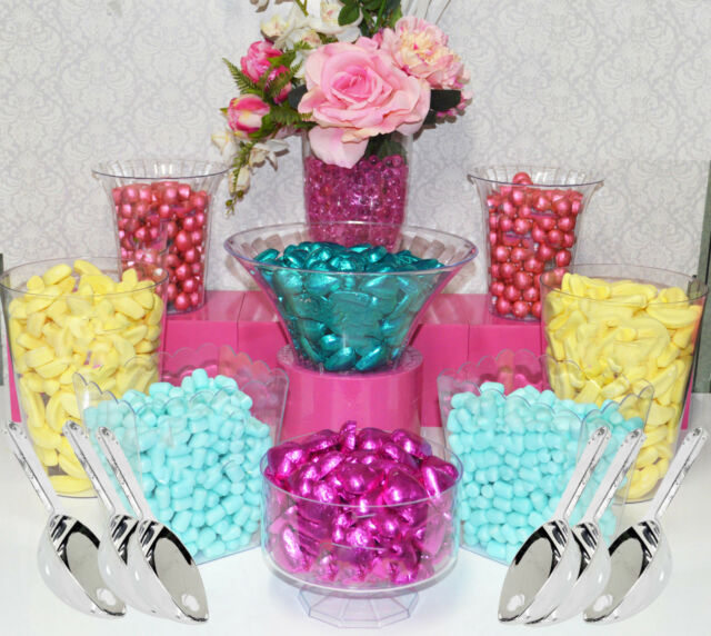 Plastic Candy Jars Lolly Jars x 8 & 6 Scoops Buffet - Kids Party Dessert Table