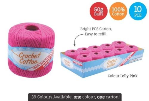 10 x Super Soft Crochet Cotton Ball 50g Wool Yarn Lolly Pink NEW WIN-075
