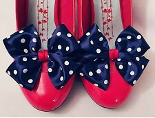 Nautical Fancy Dress Shoe Clips Navy White Polkadot Red Bows Burlesque Vintage
