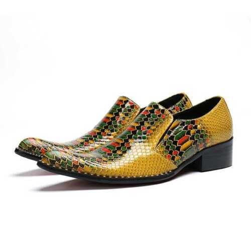 Homme Peau De Serpent compensés à bout pointu à Enfiler Mocassins Youth parti en cuir chaussures de loisirs robe