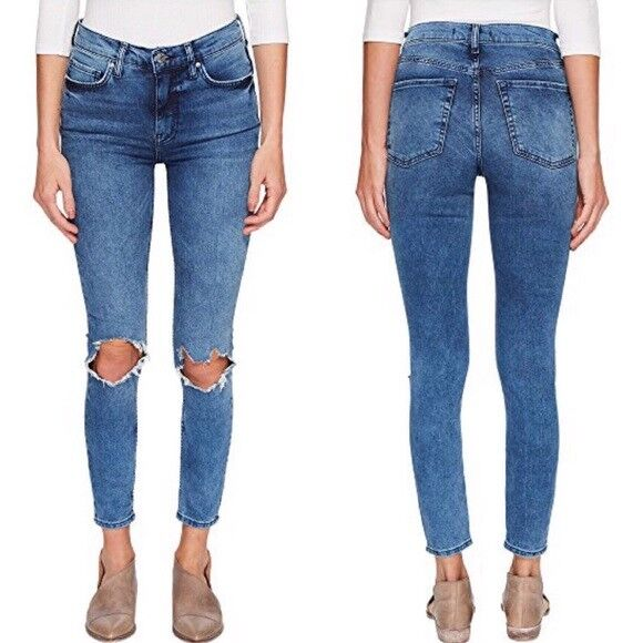 Free People Size 24 bluee Womens High Rise Busted Skinny Denim Jeans NWT