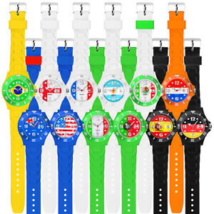Fussball-Silikon-Armbanduhr-Gummi-Fanartikel-Fan-Uhr-WM-amp-EM-Laender-Fahne-Flagge
