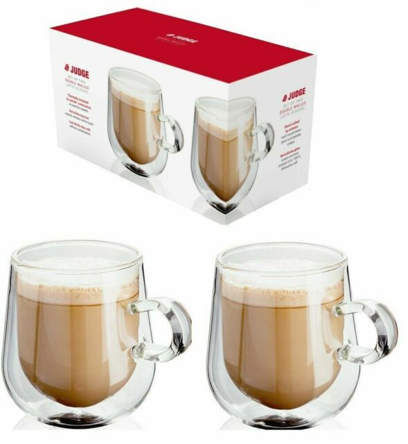 Judge Set Of 2 Double Walled Insulated Hollow Wall Latte Coffee Glass Mug 275ml