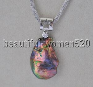 Z9311 28mm Baroque Rainbow Brown-Black Keshi Pearl Pendant Fashion Jewelry