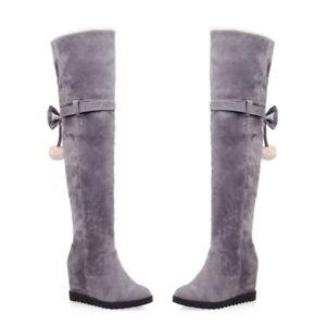 Women-Fur-Wedge-Hidden-Heel-Plus-Size-Winter-Warm-Over-The-Knee-High-Long-Boots