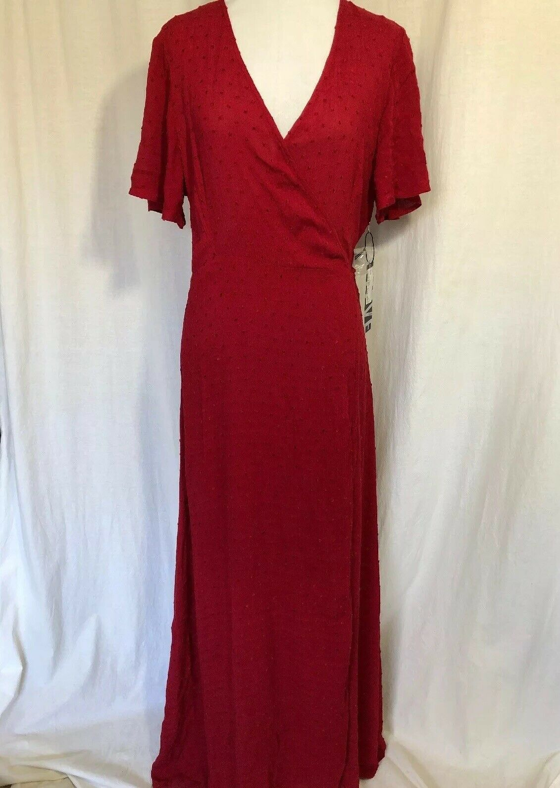 Fashion On Earth rot Wrap Dress Long Short Sleeve New With Tag Large