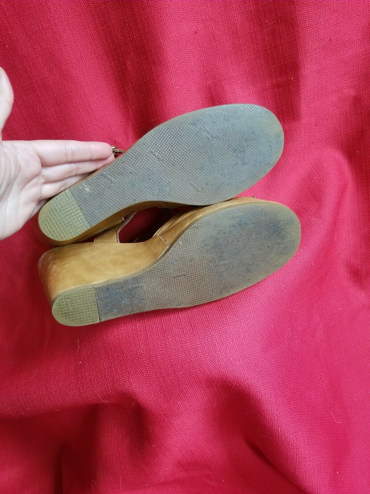 Vtg 1970s does 40s Leather Wedge Sandals Size 7.5… - image 10