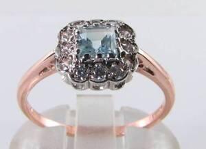 DAINTY-9K-9CT-ROSE-GOLD-AQUAMARINE-DIAMOND-ART-DECO-INS-RING-FREE-RESIZE