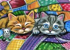Original Raccoon Cat Kitten Mouse Kitty Carnival Concessions Fair ACEO Print