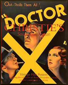 Details about VINTAGE FILM POSTERS 2002 DOCTOR X Lionel Atwill UK AUCTION  CATALOGUE