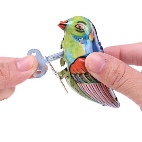 Wind up clockwork pecking song blue bird magpie tin toy vintage retro gift  *tr