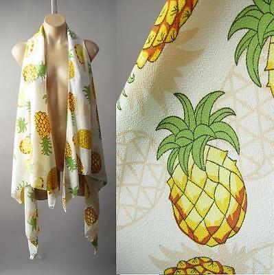 Pineapple Novelty Fruit Tropical Print Cascade Open Front Coverup 189 mv Vest OS