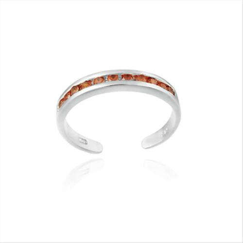 Sterling Silver Toe Ring with Channel Set Orange CZ