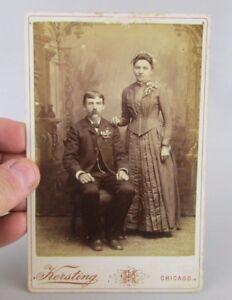 VTG-Antique-Studio-Photo-Cabinet-Card-Young-Couple-Kersting-Chicago-Il-Illinois